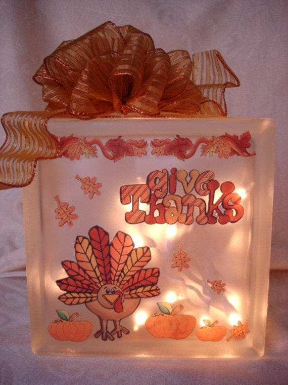 Decorated Glass Block For Thanksgiving By Sandiescreations