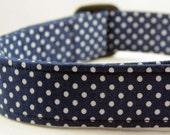 Dog Collar: Navy blue and White Polka Dot