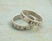 STACKED........One Hand Stamped Sterling Silver Stackable Ring