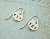 Monogram Earrings - Hand Stamped Jewelry - Personalized Drop Earrings - Sterling Silver Dangle Earrings