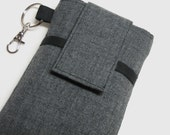 cell phone case purse,iPhone 7,7s,6,6s plus,samsung galaxy s6,s7,note5 holder sleeve cover or any other cell phone sleeve case- Gray suiting