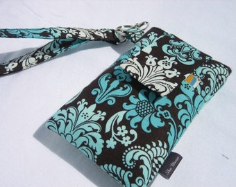 WRISTLET Cell phone sleeve purse iphone 7,6,6s,7s plus,samsung galaxy s6/s7/note/edge or any other smart phone sleeve case-Aqua Ombre Damask
