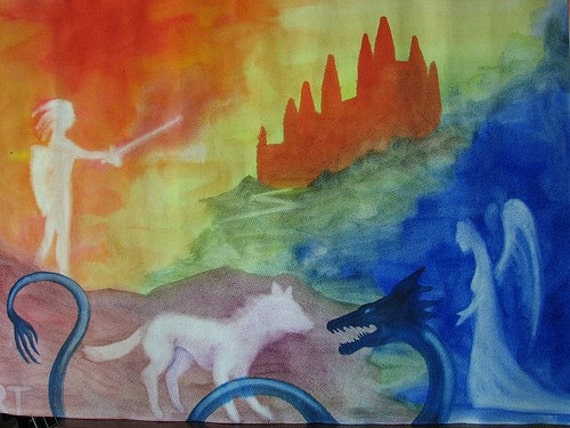 Waldorf Watercolor Postcard - Fairy Tale