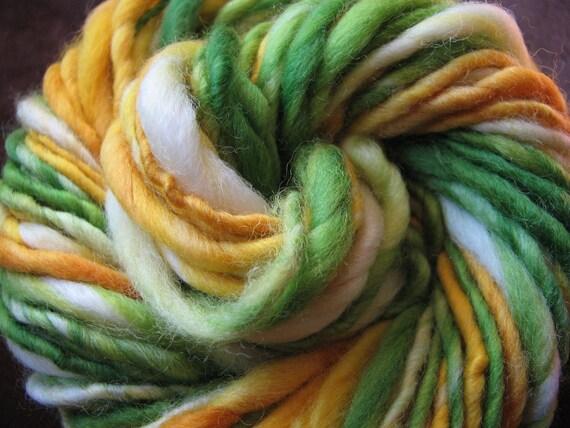 Lemon and Lime Fairy Handspun Yarn - 50 yards worsted bulky weight