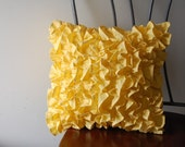 Ruffles Pillow in Yellow Cotton