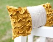 RESERVED LISTING Side Ruffles Pillow in Mustard Yellow/Light Gray Linen 20x20
