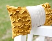 RESERVED Custom Listing for bzosel  2 Side Ruffle Pillows in Mustard Yellow/Cream Linen, 2 Navy Felt Rose Pilows with Cream Linen, 1 Mustard Rose Pilow with Cream Linen