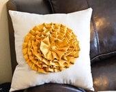 Mustard Rose PIllow on Light Gray Cotton