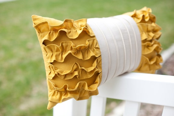 RESERVED for Melissa1014  Side Ruffles Pillow in Mustard Yellow/Light Gray Linen