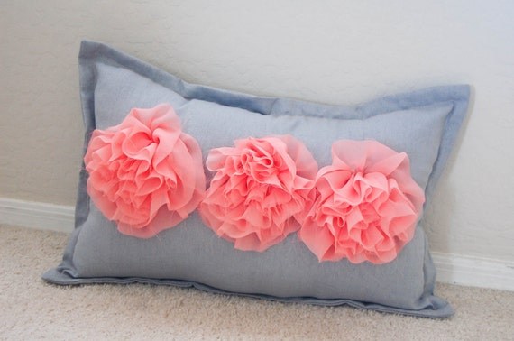 Triple Rosette Pillow in Coral Chiffon/Light Gray Linen 20x12