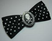 Adorable Antique Polka-dot Silver Black and White Skull Cross Bones Cameo Gothic Lolita Steampunk Hair Bow Barrette Pin Clip