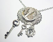 Simply Stunning Antique Silver Vintage  Watch Movement Skeleton Keys Steampunk Neo Victorian Gothic Lolita Necklace Pendant