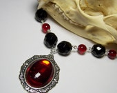 Beautiful Antique Silver Genuine Vintage German Glass Ruby Red Cabochon Black Czech Crystal Beads Neo Victorian Steampunk Pendant Necklace