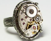 Antique Silver Vintage 17 Jewel Waltham Watch Movement Gothic Neo Victorian Steampunk Ring (A301)