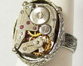 Antique Silver Vintage 17 Jewel Swiss Watch Movement Gothic Neo Victorian Steampunk Ring (A304)