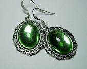 Antique Silver Genuine Vintage German Peridot Absinthe Green Glass Cabochon Gothic Lolita Steampunk Earrings
