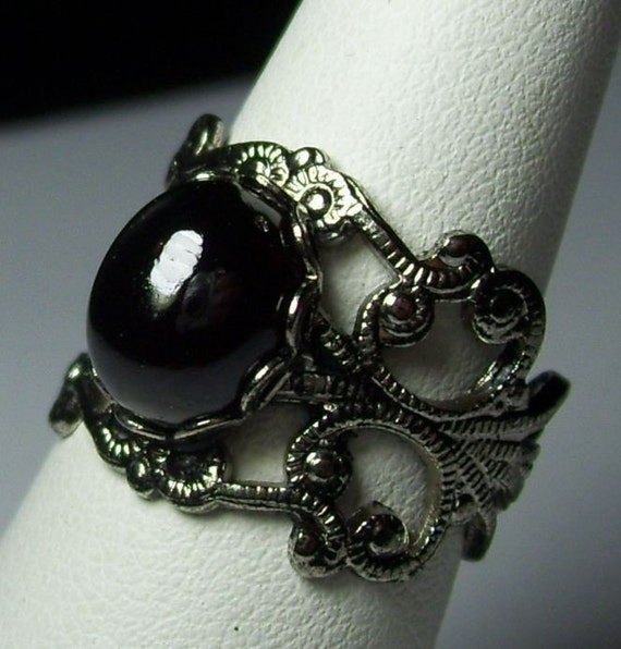 Delicate Antique Silver Genuine Red Garnet Neo Victorian Gothic Adjustable Ring January Birthstone