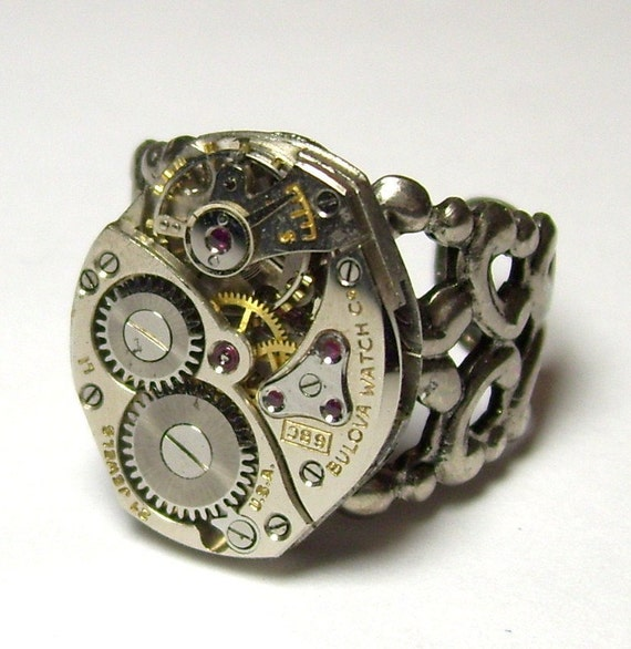 Bold Antique Silver 21 Jewel Bulova Watch Movement Filigree Adjustable Unisex NeoVictorian Gothic Steampunk Ring (A23)