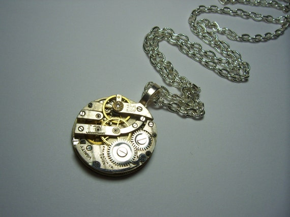 Antique Silver Pocket Watch Movement Steampunk UNISEX Pendant Necklace(2)