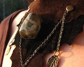 SALE Recycled Leather and Rhyolite Necklace.... Neo Tribal Adornment