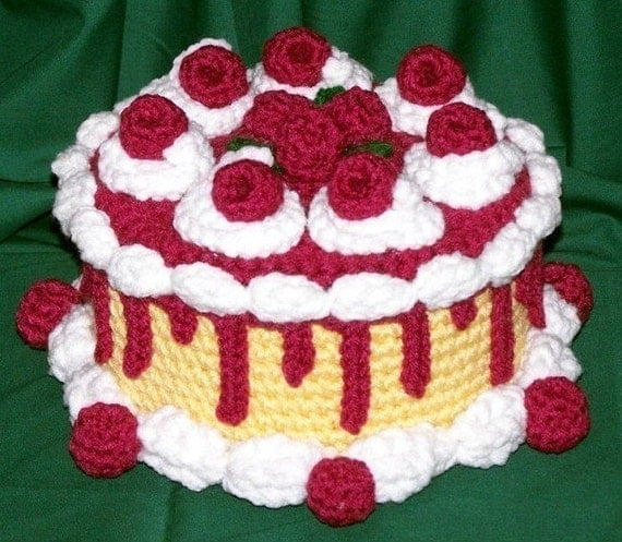 Raspberry Caramel Treasure Cake PDF Crochet Pattern