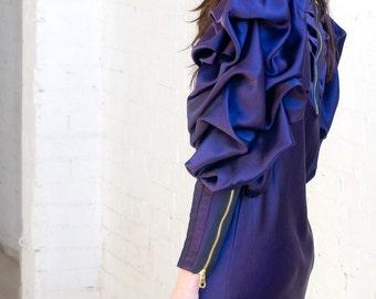Sample Sale:Purple Lawrence Evening Long Sleeve Tunic Dress