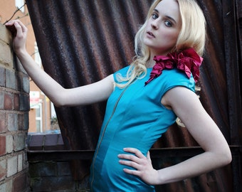 SAMPLE SALE Ivy Turquoise and Fuchsia Zip Front Structured Dress