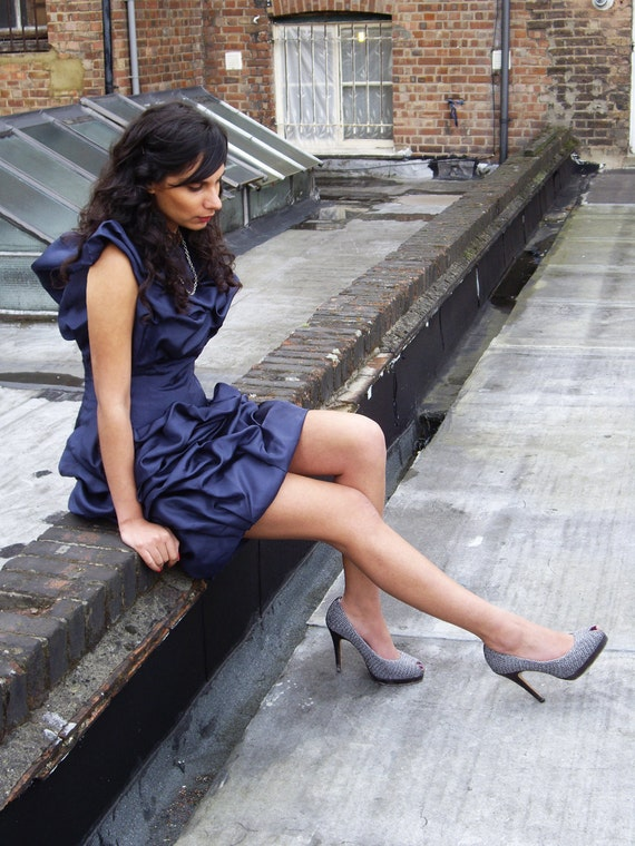 Sample Sale: Navy Blue Marilyn Cocktail Dress Midlength with Silver Tooth Zip