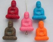 BUDDHA BUDDA PENDANT CHARM BEAD LUCITE-COLOR PINK