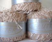 Specialty Flutter Long Eyelash Yarn in Beige and Metallic Copper 75yds/20gms/70m