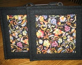 Quilted Pot Holders with Grapes and Paisley - Set of 2