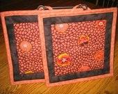 Flower Rust Orange Pot Holders - Set of 2
