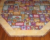 "Quilted Octagon Mat with Cats, Fish and More - 22"" diameter"