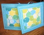 Lime and Aqua Circles Pot Holders - Set of 2