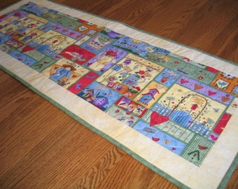 Quilted Table Runner with Birdhouses