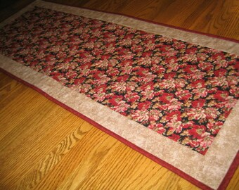 Last One - Quilted Table Runner in Red Floral
