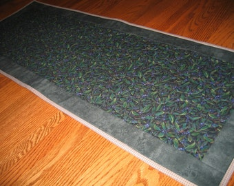 Quilted Table Runner - Green with Blueberries