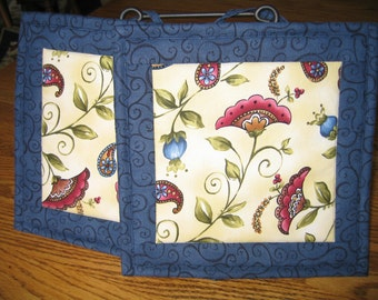 Quilted Pot Holders in a Paisley Flower Pattern - Set of 2