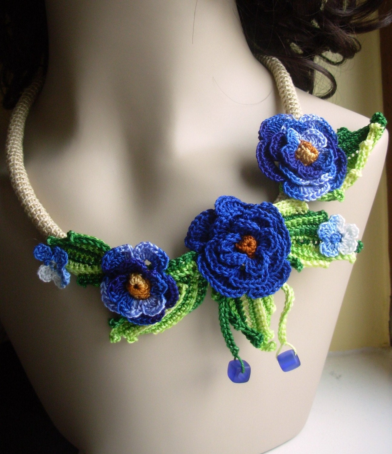 Crochet Flower Floral Necklace In Blue