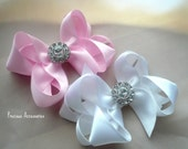 Boutique Baby/Toddler  GLAM Satin Hair Bows - - White and Pink - --