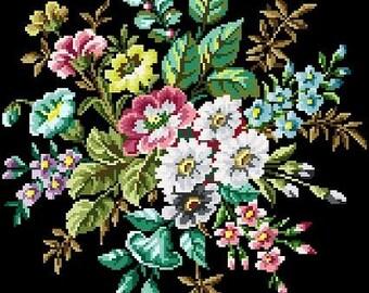 Pretty blooms. Cross stitch pattern PDF. Instant download.