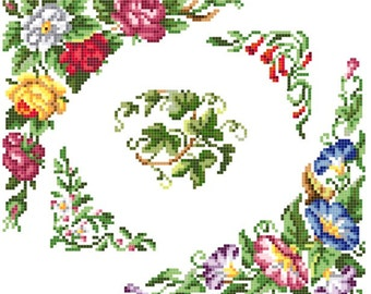 Sajou blooms cross stitch pattern. Instant download PDF