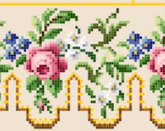 Rose panel. Cross stitch pattern PDF. Instant download.