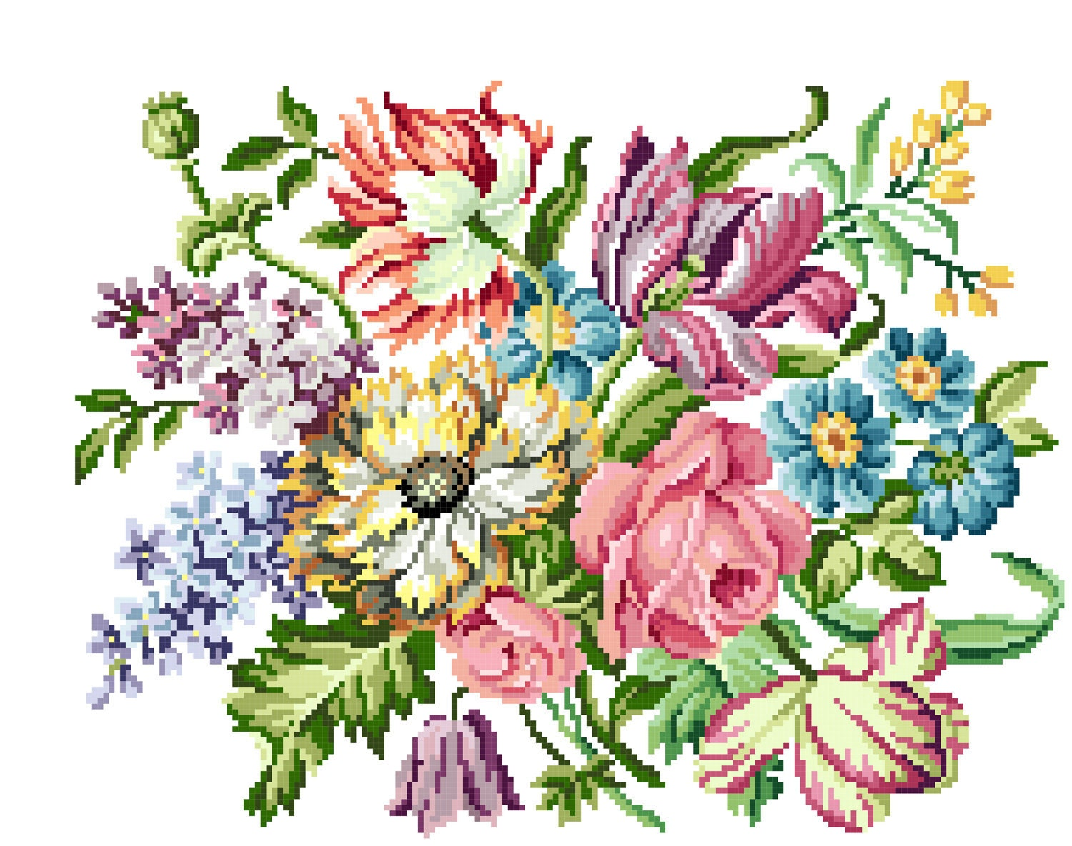 Victorian blooms Cross stitch pattern by rolanddesigns on Etsy