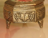 Vintage silver tone and needlepoint jewelry box