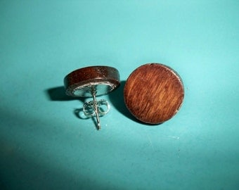 Wooden Round Stud Earrings