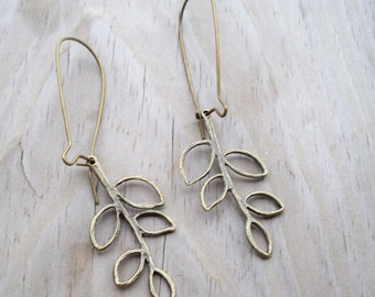 Antique Bronze Filigree Leaf Dangles