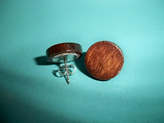 Wooden Round Stud Earrings