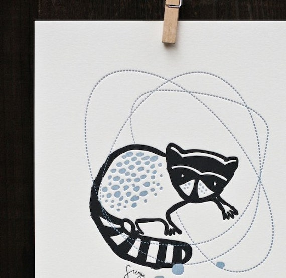 Letterpress Raccoon Print 8x10