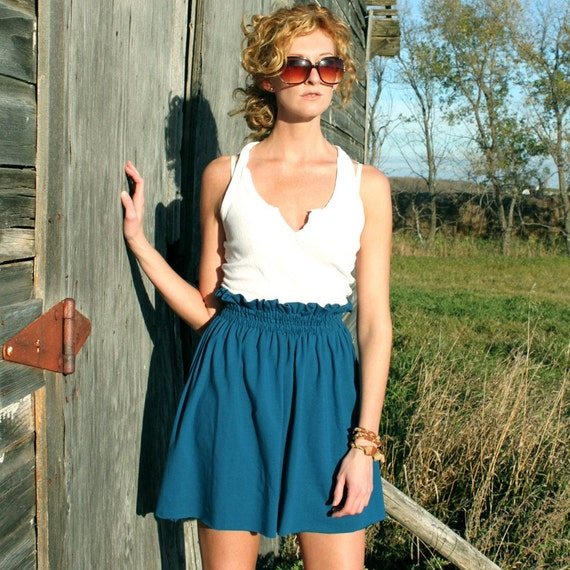 Marine Blue Knit High Waist Skirt